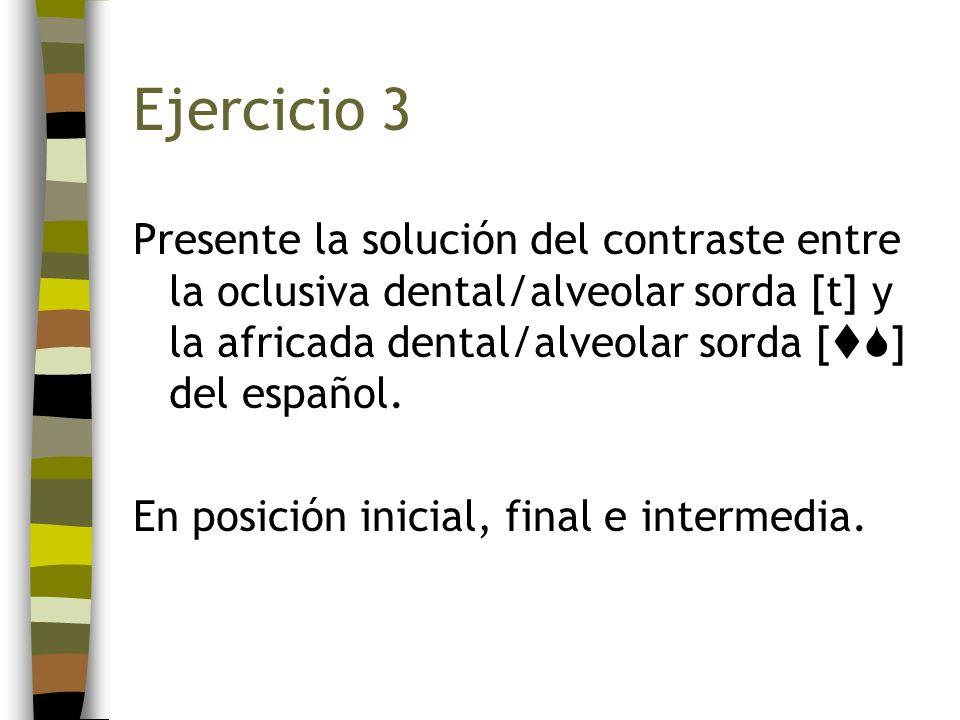 Ejercicio 3Presente la solución del contraste entre la oclusiva dental/alveolar sorda [t] y la africada dental/alveolar sorda [] del español.